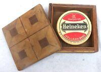 Heineken Cardboard Coasters Vintage Lot 11 Wooden Case W Germany Holland Beer