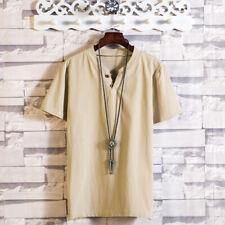 Men's T-Shirts Short Sleeve V Neck Button Plain Cotton Blend T Shirt M-5XL