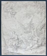 c.1600s antique French old master drawing The Dream of St. Joseph