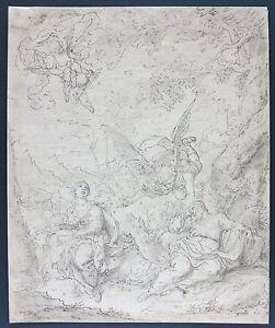 c.1600s Genoese School Italian Old Master drawing The Dream of St. Joseph Genoa