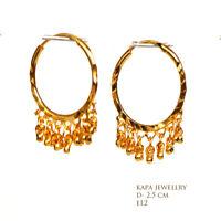 18ct Gold Plated Plain designer Hoop Earrings 25mm.