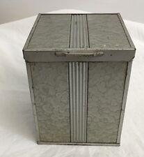 "Arts and Crafts Industrial Hammered Metal Cigar Humidor Art Deco 6.25"" x 5"" x 5"""
