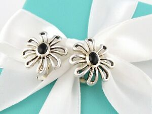 Tiffany & Co Silver Picasso Large Huge Onyx Daisy Flower Clip On Earrings