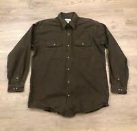 Carhartt Mens XL Olive Green Thick Cotton Button Up Shirt Long Sleeve