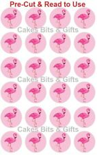 24x PINK FLAMINGO (Pink Back) Edible Wafer Cupcake Toppers PRE-CUT Ready to Use