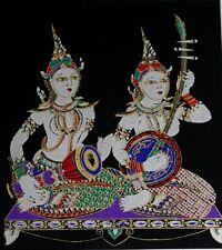 Classical Music Play Drum Thai Silk Screen Picture Handmade Wall Decor Black #2