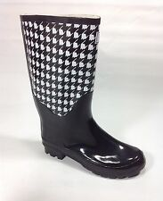 Plus Size Womens EVANS Black White Dogtooth Wellington boots size UK 9 WIDE
