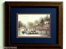SAILBOAT PICTURE COVE COTTAGES SEASCAPE MATTED FRAMED 8X10