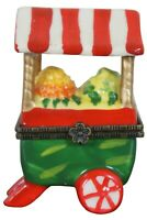 Fruit Cart Porcelain Limoges Trinket Keepsake Box Apples Lemons Striped Awning