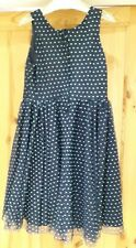 Girls H & M Size 7 to 8 Years Navy Blue Turquoise Spotty Polka Dot Pink Dress !!