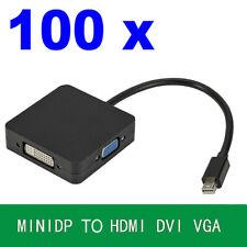 Wholesales! 100 x 3 in1 Mini DisplayPort DP Thunderbolt to DVI VGA HDMI Adapters