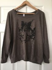 American Apparel Juniors Cat Graphic Sweatshirt Size Large L