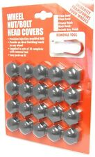 Hexagon Wheel Nuts Covers Pack of 20 - ABS Plastic (21mm Grey) Quality Finish