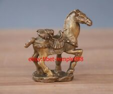 5 CM Chinese Fengshui Animal Brass Copper The Fly on Horse Equine Wealth Statue