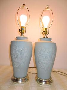 PAIR Vintage Teal Blue Pottery Hummingbird & Flower Lamps