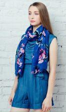 BNWT Blue Floral Print Poly Cotton Elegant Large Summer Scarf Beach Sarong Hijab