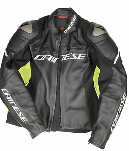DAINESE Racing 3 Motorcycle Jacket Leather Black/Yellow Fluro | 54 EU/44 AUS LG