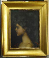 Lucien Renout Profile of Young Woman c1880 in the Taste of J J Henner Hsp Paint