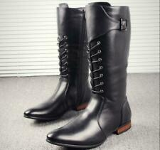 British Style Men's Lace Up Buckle Mid Calf High Riding Boots Side Zipper Shoes