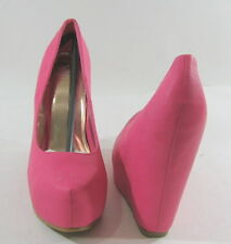"pink 5""hidden Wedge Platforms comfortable high heel sandals shoes SIZE  7 p"