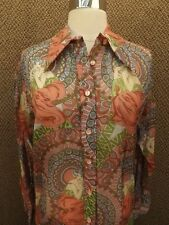 Classy Vtg 70s 80s GIBSON GIRL Semi Sheer Nylon Button Down Shirt 14/34 NEW NOS