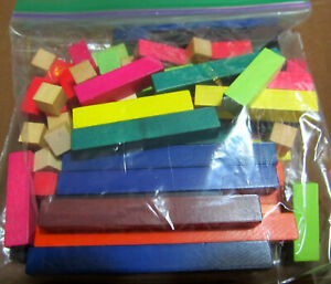 Cuisenaire Rods Math Manipulative Counting Fraction 74 piece Wood Set Homeschool