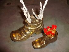 2 Vintage brass boots  match striker  and spill holder for open fires