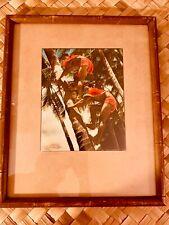 EDITHE BEUTLER HAND TINTED FRAMED PHOTO COCONUT CLIMBERS RARE HAWAIIANA SIGNED