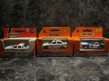 3 vintage matchbox police cars 98 ford/ 1999 bmw 328i/ 2000 crown victoria