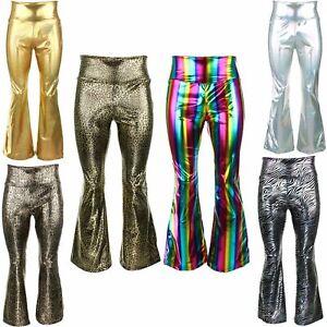SHINY DISCO FLARES METALLIC TROUSERS FESTIVAL PRIDE FANCY DRESS LEGGINGS