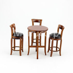 Dolls house miniature 1/12 scale furniture Walnut wood wooden bar table and 3pcs