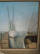 Earle Watt, Oil On Canvas, Shimp Boats at St. Simons Island