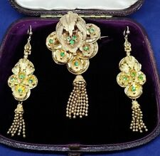 Antique PINCHBECK Victorian Emerald Paste Dangling earrings Brooch Set c1860s UK