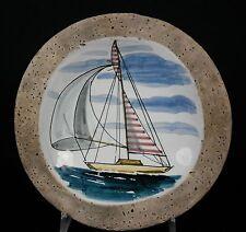 Vintage ITALIAN Piombanti Sailing Sailboat MCM Studio Art Pottery Bowl