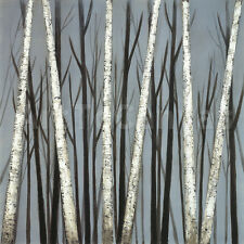 """36W""""x36H"""" BIRCH SHADOWS - EVE TRANQUIL AUTUMN FOREST TREES COOL FEEL OVSZ CANVAS"""