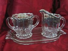 Roder sterling silver crystal open sugar, creamer tray floral pattern