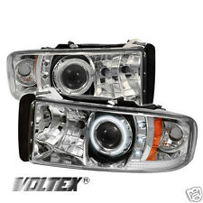 1994-2002 DODGE RAM 1500 2500 3500 CCFL LED PROJECTOR HEADLIGHTS LIGHTBAR CHROME
