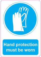 HAND PROTECTION MUST BE WORN health and safety signs stickers 205x290mm