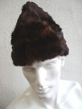 "NEW BROWN MUSKRAT FUR HAT CAP ""BOAT STYLE"" MEN MAN SIZE FROM 22.5"" TO 24"""