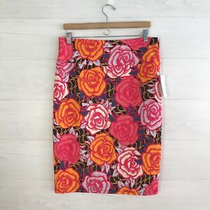 NWT Lularoe - Cassie - Bright rose print pull on pencil skirt, XL