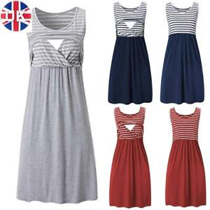 Pregnant Women Maternity Dress Nursing Breastfeeding Dress Casual Vest Dress UK
