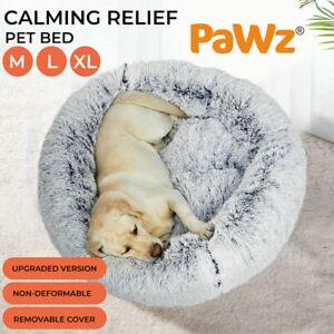 PaWz Pet Bed Cat Dog Donut Nest Sleeping Mat Soft Plush Kennel Sofa Charcoal AU