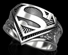New Stylish Superman Mens Biker Ring In Solid 925 Sterling Silver