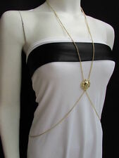 New Women Gold Long Beads Metal Fashion Body Chain Jewelry Hot Trendy Necklace