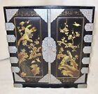 14' Antique Japanese Mini Wood Chest Cabinet with Drawers Painted Black & Gold