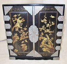 "14"" Antique Japanese Mini Wood Chest Cabinet with Drawers Painted Black & Gold"