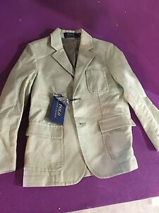 New POLO RALPH LAUREN Linen Cotton Sport Coat jacket Blazer Boy Khaki Size 7
