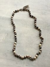 Porcelain Jasper Strand Necklace (Size 18) 925S White Sterling Silver