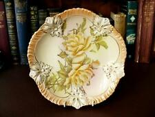 19th c Victorian Ornate Cabinet Plate - Yellow Rose - Hand Decorated