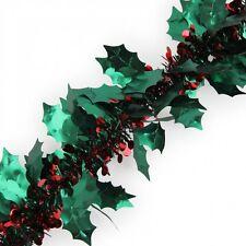 2 M Holly Decorazioni Ghirlanda Decorazione Albero di Natale Verde Rosso GRATIS P&P IN MAGAZZINO